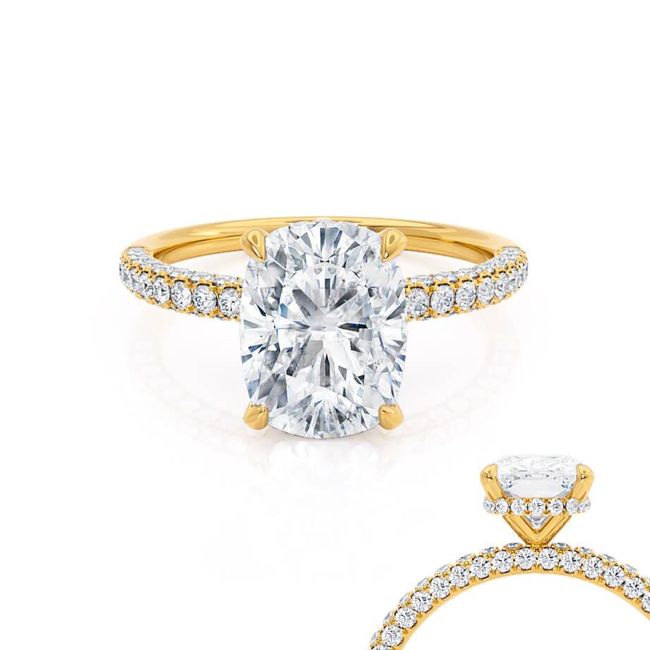 Lily Arkwright Elongated Cushion Cut Moissanite 18k Yellow Gold Petite Hidden Halo Triple Pavé Engagement Ring