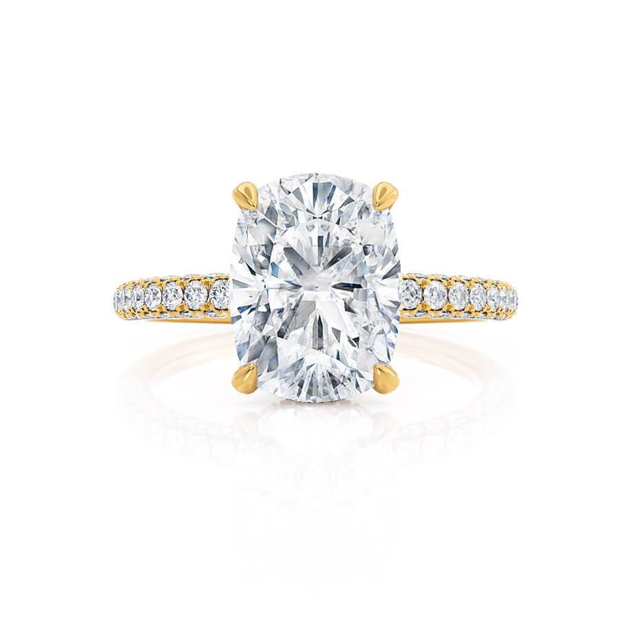 Lily Arkwright Charles & Colvard Elongated Cushion Cut Moissanite 18k Yellow Gold Petite Hidden Halo Triple Pavé Engagement Ring