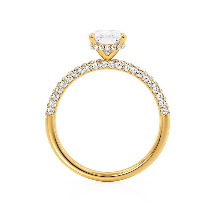 Elongated Cushion Cut Moissanite 18k Yellow Gold Petite Hidden Halo Triple Pavé Engagement Ring