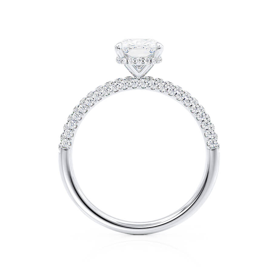 COCO - Elongated Cushion Moissanite & Diamond Platinum Petite Hidden Halo Triple Pavé Ring Engagement Ring Lily Arkwright