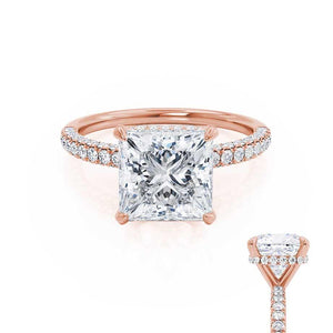 COCO - Princess Moissanite & Diamond 18k Rose Gold Hidden Halo Triple Pavé Shoulder Set Engagement Ring Lily Arkwright