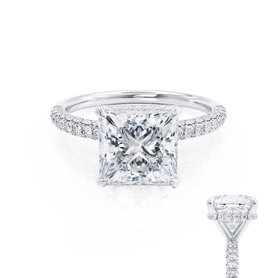 COCO - Princess Moissanite & Diamond Platinum Hidden Halo Triple Pavé Shoulder Set Engagement Ring Lily Arkwright