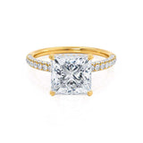 COCO - Princess Moissanite & Diamond 18k Yellow Gold Hidden Halo Triple Pavé Shoulder Set Engagement Ring Lily Arkwright