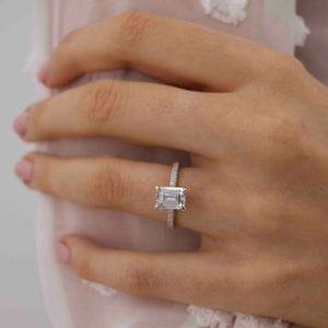 Coco emerald cut moissanite hidden halo triple pave ring white gold platinum Lily Arkwright