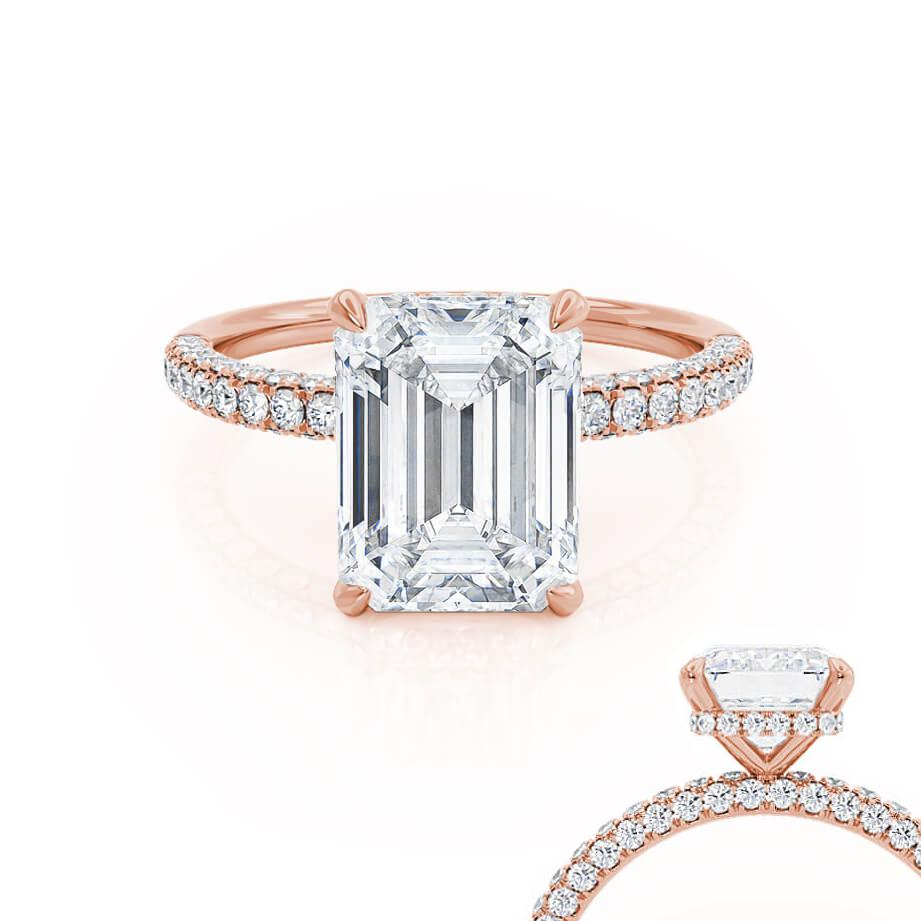COCO - Emerald Moissanite & Diamond 18k Rose Gold Petite Hidden Halo Triple Pavé Ring Engagement Ring Lily Arkwright