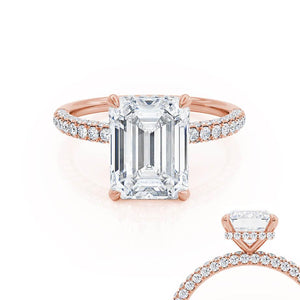Lily Arkwright moissanite lab diamond Emerald Cut Moissanite 18k Rose Gold Petite Hidden Halo Triple Pavé Charles & Colvard
