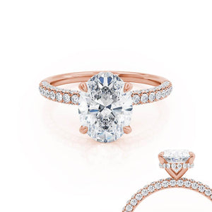 Lily Arkwright Oval Cut Moissanite 18k Rose Gold Petite Hidden Halo Triple Pavé Shoulder Set