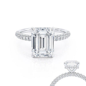 Lily Arkwright Emerald Cut Moissanite Platinum Petite Hidden Halo Triple Pavé