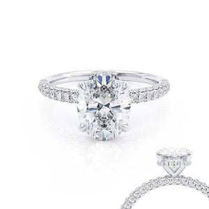 Lily Arkwright Oval Cut Moissanite Platinum Petite Hidden Halo Triple Pavé Shoulder Set