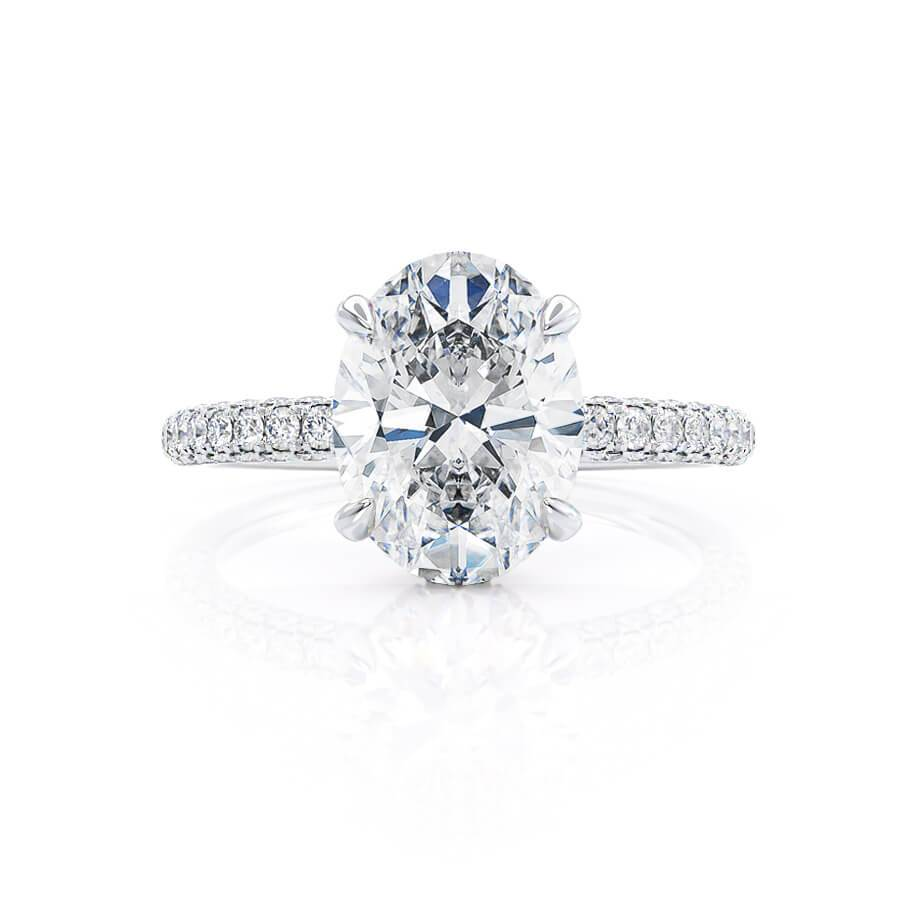 COCO - Oval Moissanite & Diamond 18k White Gold Petite Hidden Halo Triple Pavé Shoulder Set Ring Engagement Ring Lily Arkwright