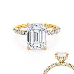 Lily Arkwright Emerald Cut Moissanite 18k Yellow Gold Petite Hidden Halo Triple Pavé