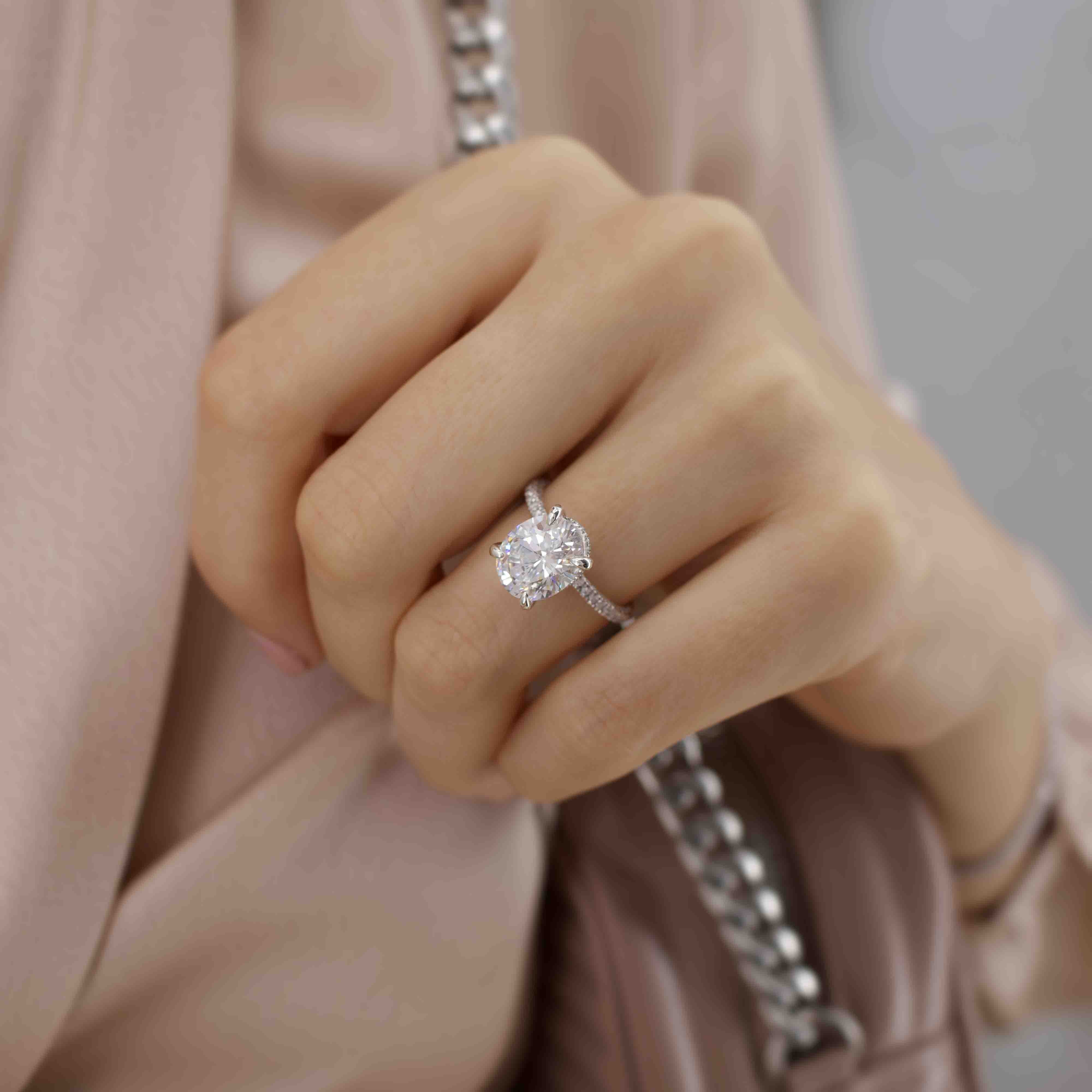 COCO - Oval Moissanite & Diamond 18k Rose Gold Petite Hidden Halo Triple Pavé Shoulder Set Ring Engagement Ring Lily Arkwright