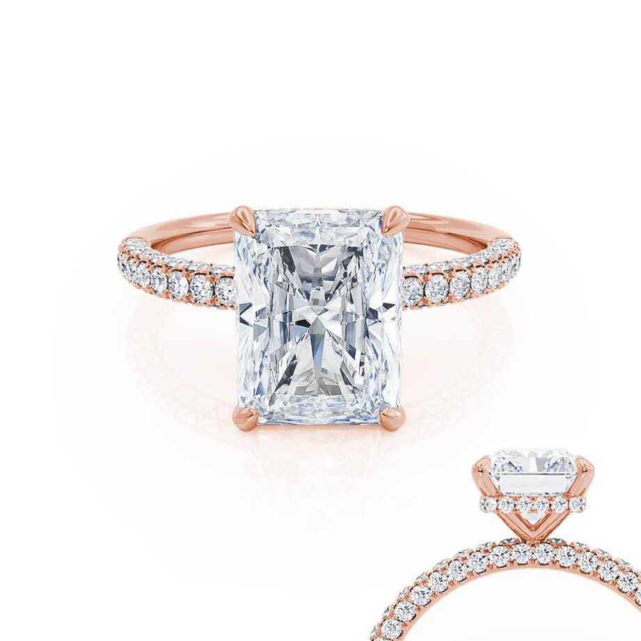 COCO - Radiant Moissanite & Diamond 18k Rose Gold Petite Hidden Halo Triple Pavé Shoulder Set Ring Engagement Ring Lily Arkwright