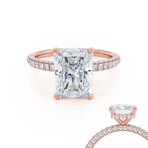 Lily Arkwright Radiant Cut Moissanite 18k Rose Gold Petite Hidden Halo Triple Pavé Shoulder Set