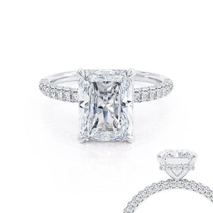 COCO - Radiant Moissanite & Diamond 18k White Gold Petite Hidden Halo Triple Pavé Shoulder Set Ring Engagement Ring Lily Arkwright