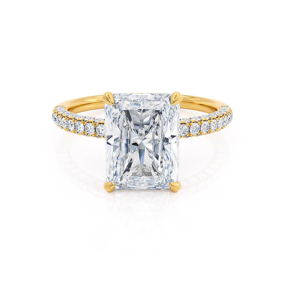Lily Arkwright Coco Radiant Cut Moissanite 18k Yellow Gold Petite Hidden Halo Triple Pavé Shoulder Set Engagement Ring