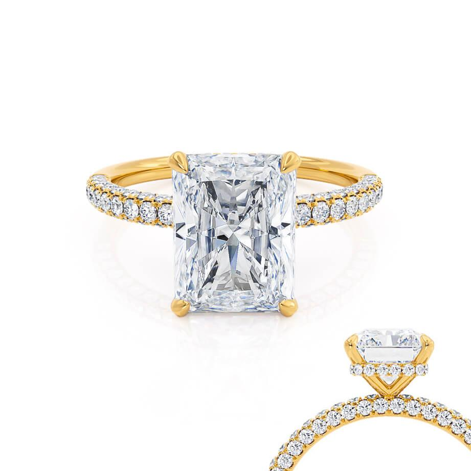 Lily Arkwright Coco Radiant Cut Moissanite 18k Yellow Gold Petite Hidden Halo Triple Pavé Shoulder Set