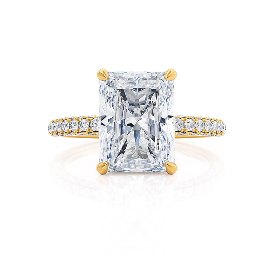 Coco Radiant Cut Moissanite 18k Yellow Gold Petite Hidden Halo Triple Pavé Shoulder Set
