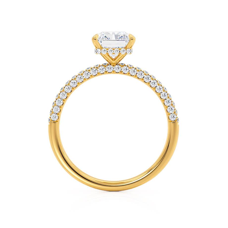 Lily Arkwright Coco Radiant Cut Moissanite 18k Yellow Gold Petite Hidden Halo Triple Micro Pavé Shoulder Set