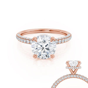 Lily Arkwright Round Cut Moissanite 18k Rose Gold Petite Hidden Halo Triple Pavé Shoulder Set