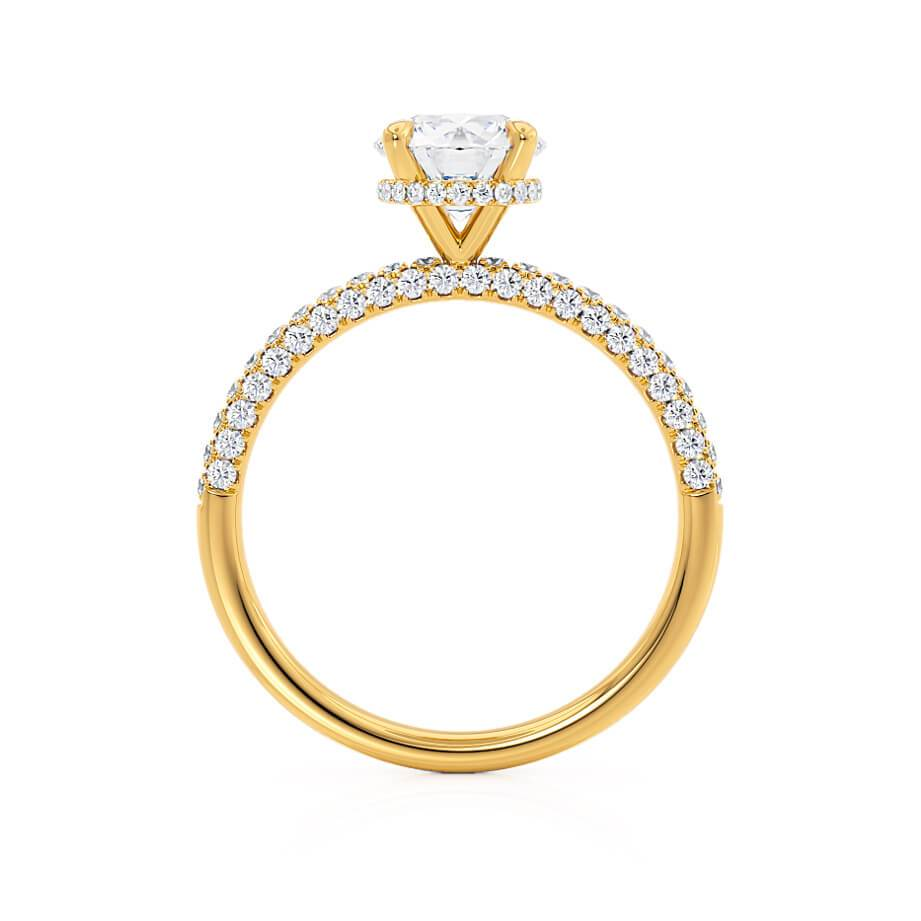 COCO- Round Moissanite & Diamond 18k Yellow Gold Petite Hidden Halo Triple Pavé Shoulder Set Ring Engagement Ring Lily Arkwright