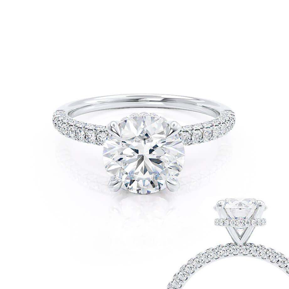 COCO - Round Moissanite & Diamond Platinum Petite Hidden Halo Triple Pavé Shoulder Set Ring Engagement Ring Lily Arkwright