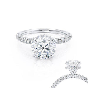Lily Arkwright Round Cut Moissanite 18k White Gold Petite Hidden Halo Triple Pavé Shoulder Set