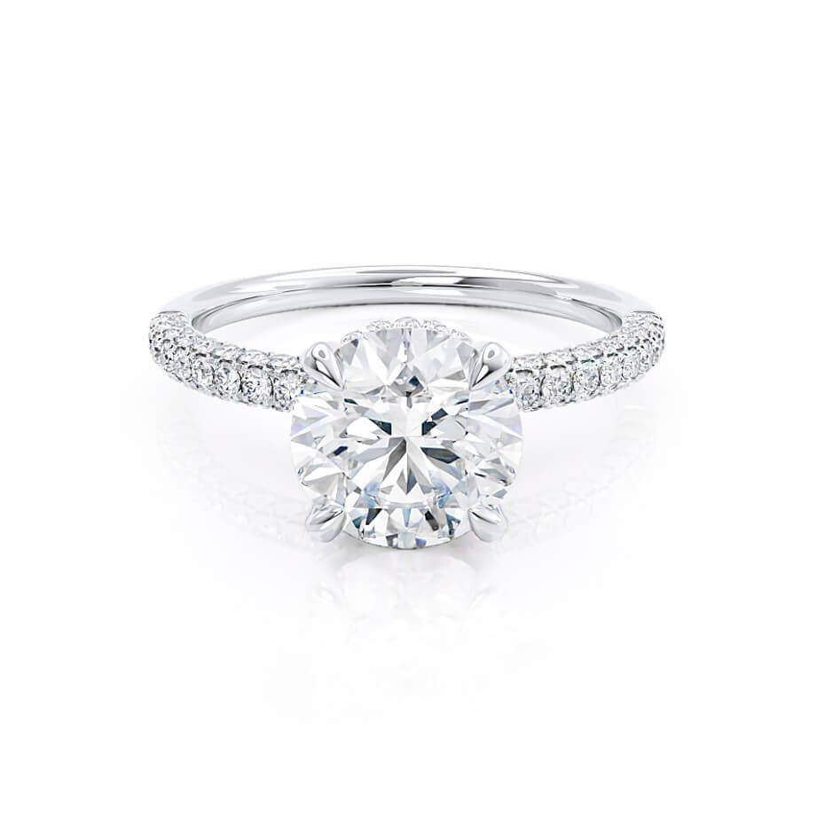 Round Cut Moissanite 18k White Gold Petite Hidden Halo Triple Micro Pavé Engagement Ring Lily Arkwright