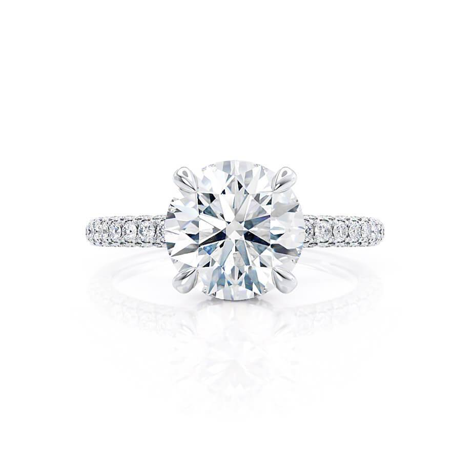COCO- Round Moissanite & Diamond 18k White Gold Petite Hidden Halo Triple Pavé Shoulder Set Ring Engagement Ring Lily Arkwright
