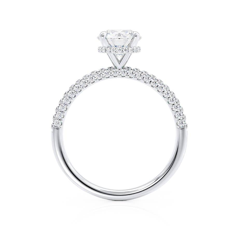 COCO- Round Cut Moissanite 18k White Gold Petite Hidden Halo Triple Pavé Shoulder Set