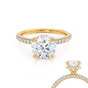 Lily Arkwright Round Cut Moissanite 18k Yellow Gold Petite Hidden Halo Triple Pavé Shoulder Set