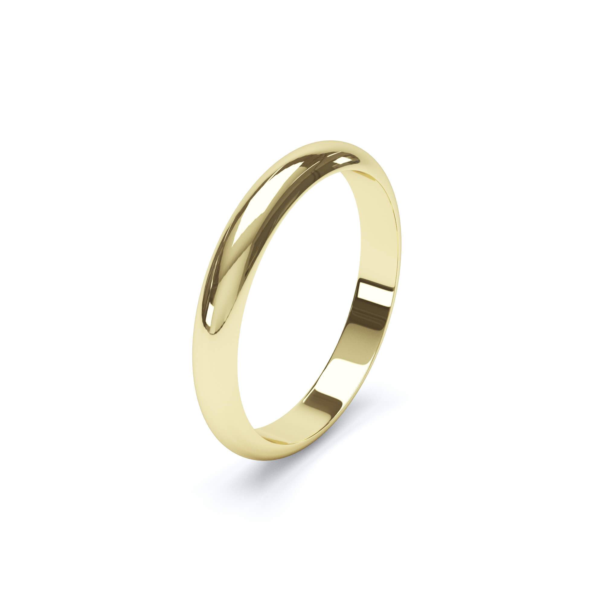 Women's Plain Wedding Band D Shape Profile 18k Yellow Gold Wedding Bands Lily Arkwright