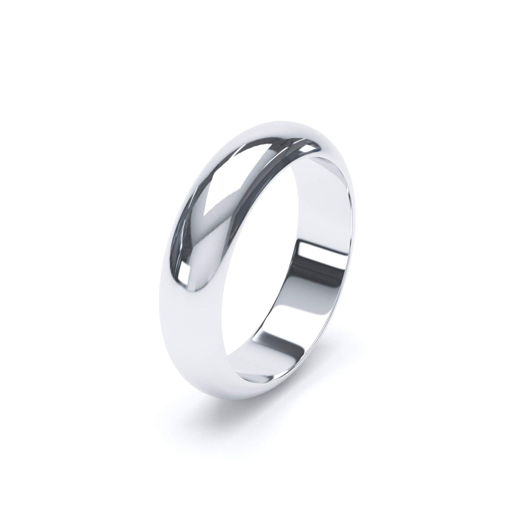 Plain Wedding Band D Shape Profile Platinum