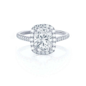 DARLEY - Elongated Cushion Micro Pavé Platinum Halo Engagement Ring Lily Arkwright