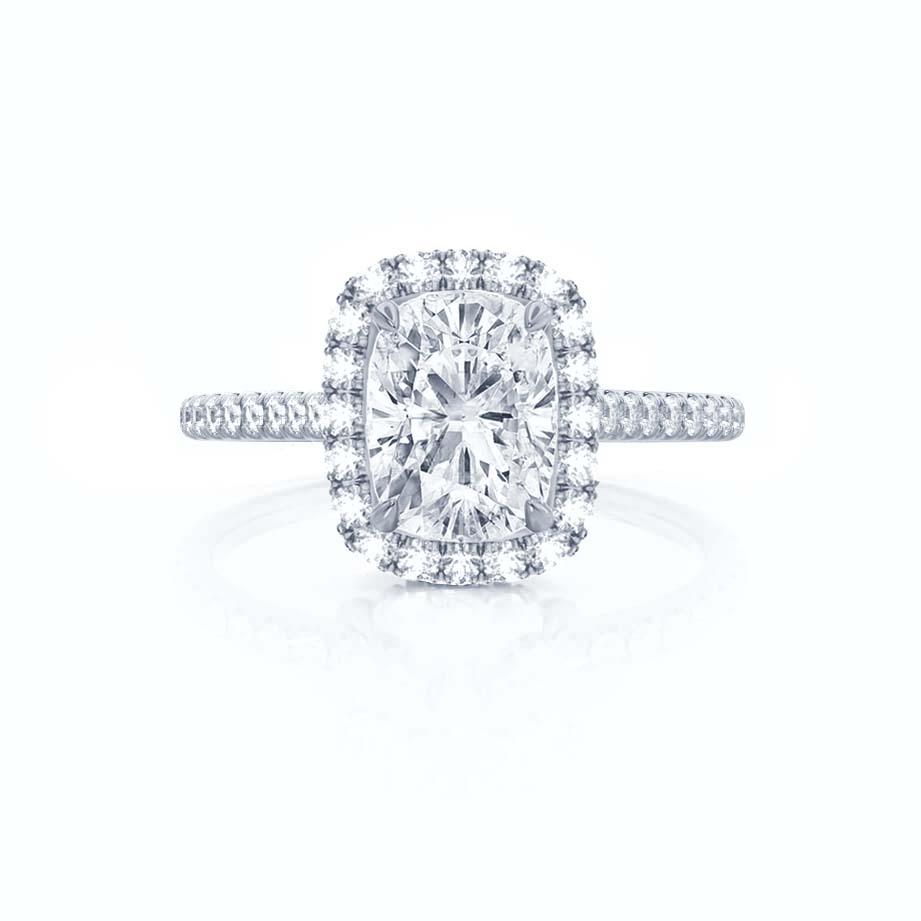 DARLEY - Elongated Cushion Moissanite & Diamond Micro Pavé Platinum Halo