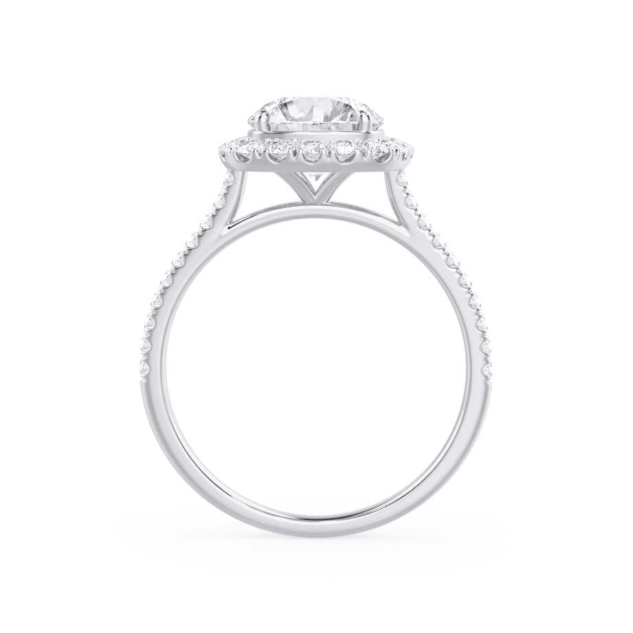 DARLEY - Elongated Cushion Charles & Colvard Moissanite & Diamond Micro Pavé Platinum Halo