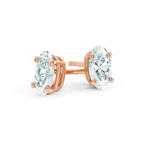 SAVANNAH - Oval Moissanite 18k Rose Gold Stud Earrings Earrings Lily Arkwright