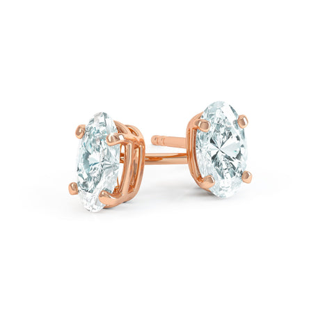 Savannah 18K Rose Gold Oval Moissanite Stud Earrings