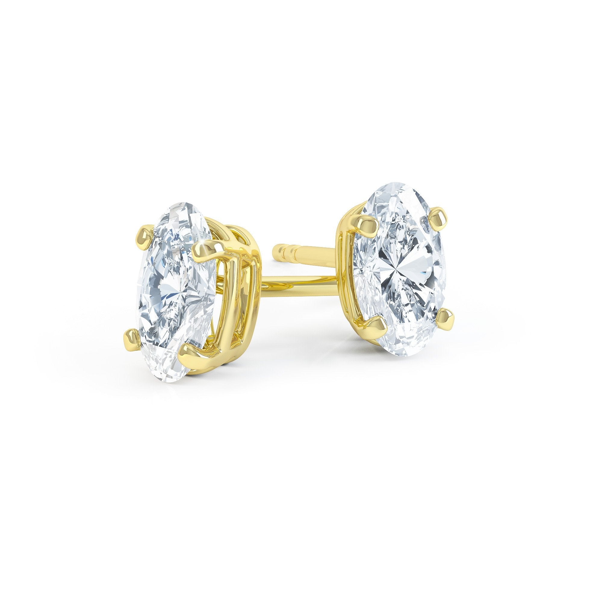 SAVANNAH - Oval Moissanite 18k Yellow Gold Stud Earrings Earrings Lily Arkwright