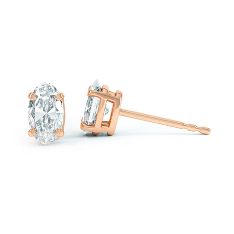 Rose Gold Oval Moissanite Stud Earrings