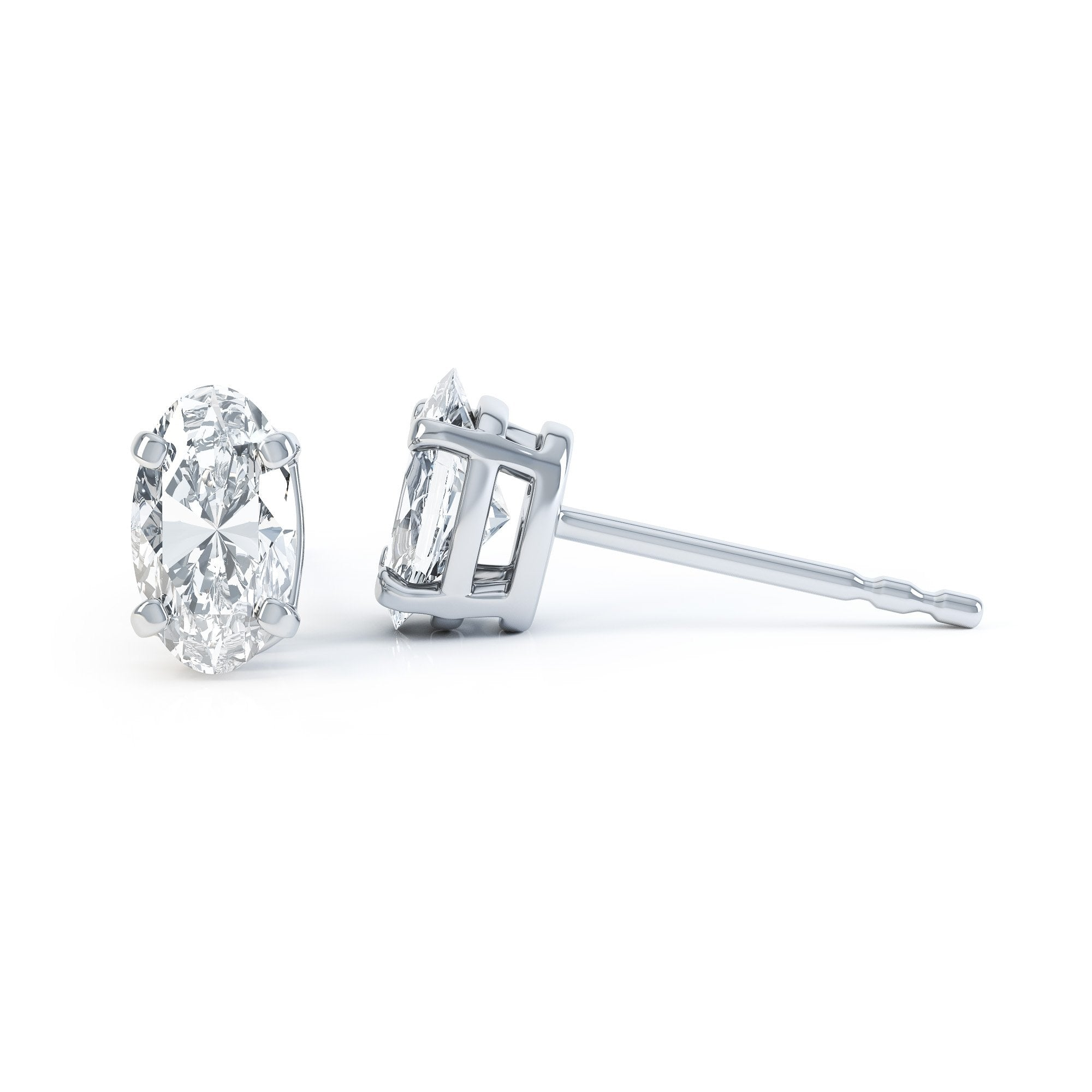 SAVANNAH - Oval Moissanite 950 Platinum Stud Earrings Earrings Lily Arkwright