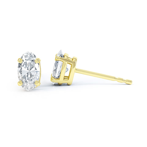 18K Yellow Gold Oval Moissanite Stud Earrings
