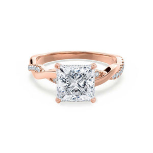 EDEN - Princess Moissanite & Diamond 18k Rose Gold Vine Solitaire Engagement Ring Lily Arkwright