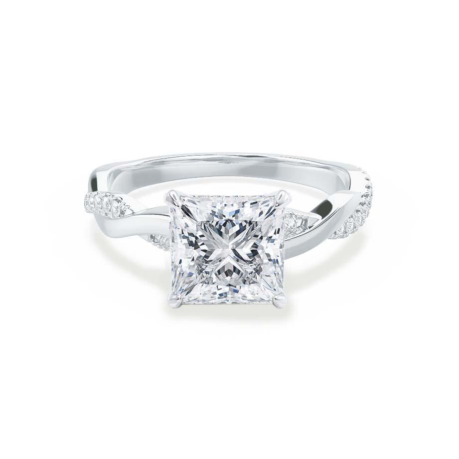EDEN - Princess Moissanite & Diamond Platinum Vine Solitaire Engagement Ring Lily Arkwright