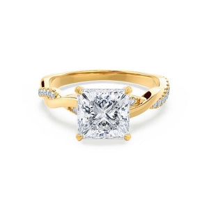 EDEN - Princess Moissanite & Diamond 18k Yellow Gold Vine Solitaire Engagement Ring Lily Arkwright