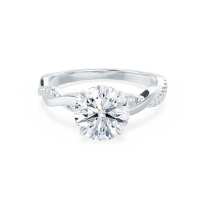 EDEN - Moissanite & Diamond 18k White Gold Vine Solitaire Engagement Ring Lily Arkwright
