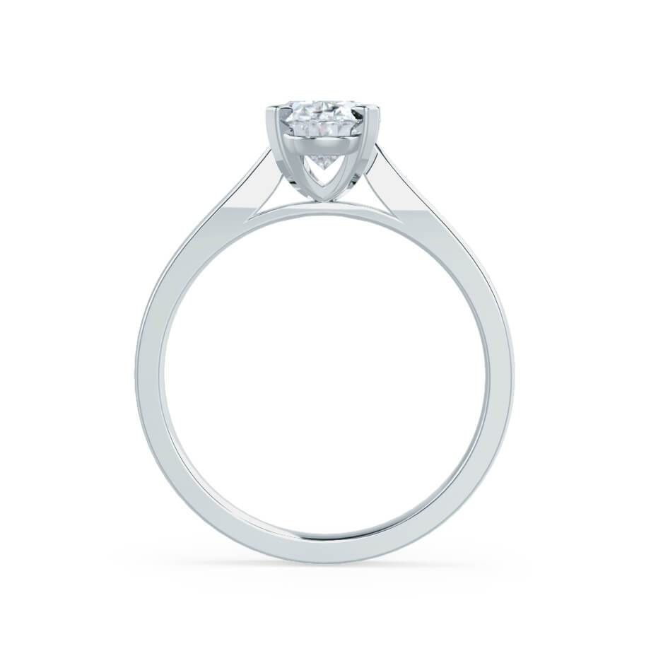 4 claw moissanite cathedral solitaire engagement ring white gold