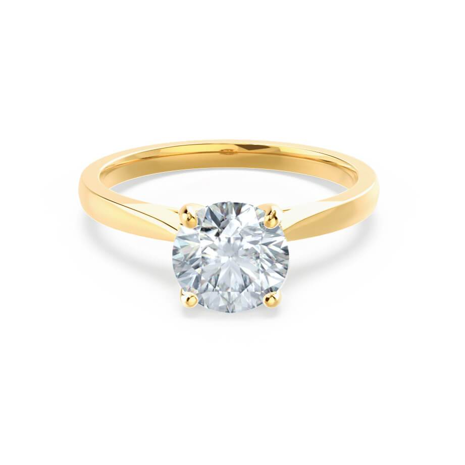 ELENA - Moissanite Cathedral Solitaire 18k Yellow Gold Ring