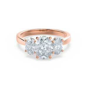 EVERDEEN - Oval Moissanite 18k Rose Gold Trilogy Ring Engagement Ring Lily Arkwright