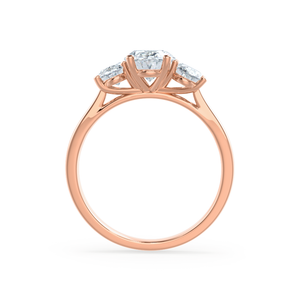 Lily Arkwright Engagement Ring EVERDEEN - Oval Charles & Colvard 18k Rose Gold Trilogy Ring